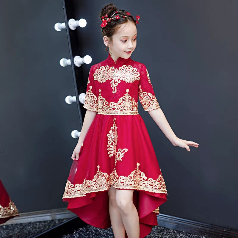 3~14Years Children Girls Embroidery Lace Flowers Birthday Wedding Party Tail Dress Kids Teens Half Sleeves Piano Evening Dress green lace up side half sleeves mini dress
