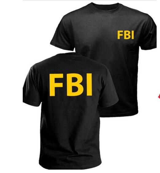 Gildan FBI T-shirt agent secret service police CIA Staff Men Front and Back Print T shirt Summer Man Short Sleeve Top Tee Shirt