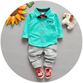2016 New baby boys cartoon suit long-sleeved t-shirt + pants striped distant point sets cotton children Kids sets