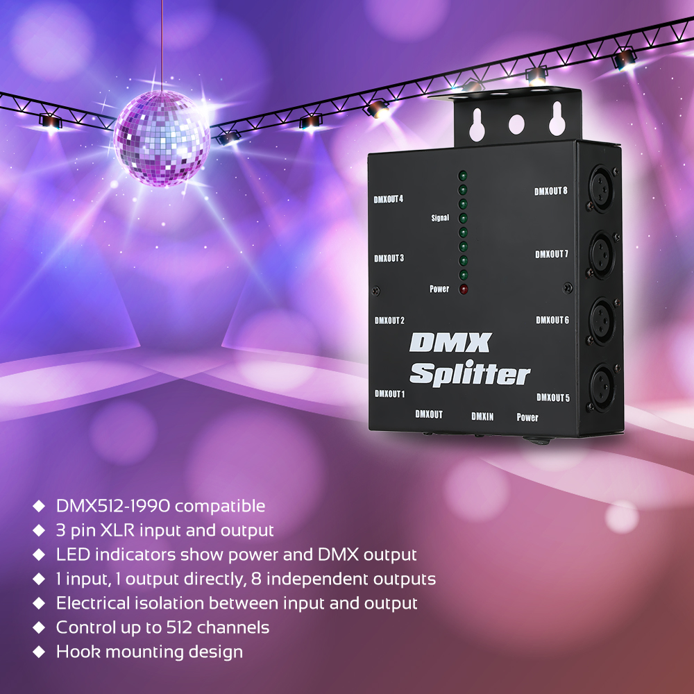 DMX512 Optical Splitter Portable 8 Channels Distribution Amplifier For Party DJ Show Club Disco KTV Stage Light