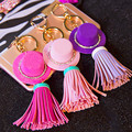 New Style 5pcs/lot Colorful Rhinestone Hats/PU Tassel decoration Fashion Handmade Jewelry Key Chain/Car/bags accessory