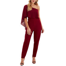 Summer Women Jumpsuit Pocket Off Shoulder Short Sleeve Rompers Long Playsuit Romper 2019  7.15
