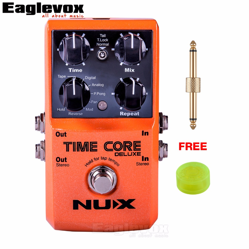 NUX Time Core Deluxe Delay Guitar Effect Pedal TSAC Technology Incredible Ambient True Bypass Crystal Clear with Free Gift nux 1 8 lcd time force delay guitar effect pedal white black