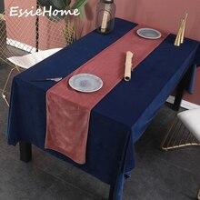 ESSIE HOME Rose Pink Single Side Matte Velvet High End Table Runner Wedding Decoration Placemat