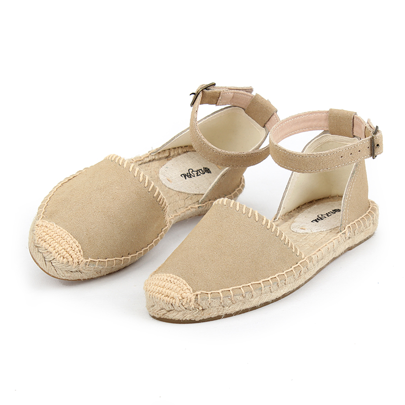 women 2019 summer sandals , ankle strap flat espadrilles sandals , real leatherwomen 2019 summer sandals , ankle strap flat espadrilles sandals , real leather