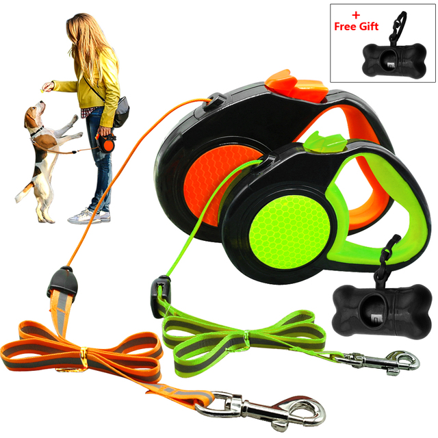 Retractable Dog Leash, 16 ft Dog Walking Leash for Medium Large Dogs up to 110lbs, Tangle Free, One Button Break & Lock , Dog Waste Dispenser and Bags included