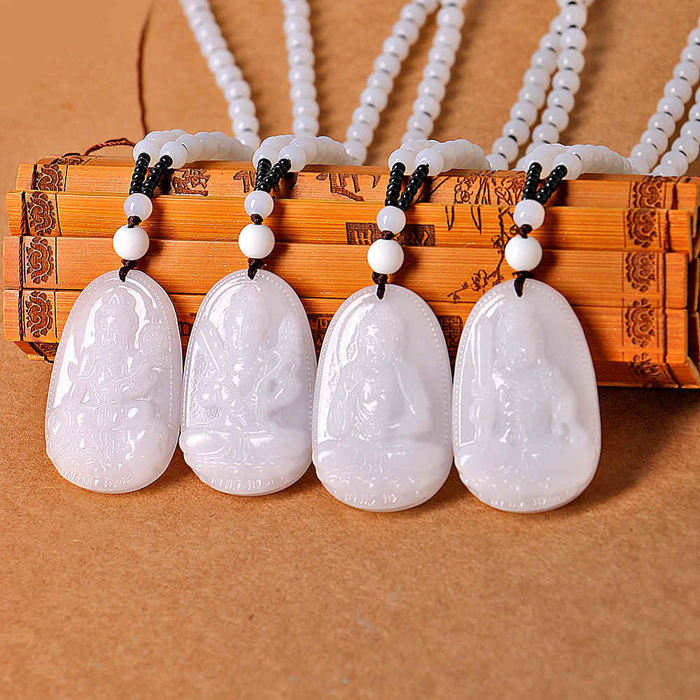 Collar largo con colgante de Buda de ocho patrón de Jade blanco, joyería budista de piedra natal para hombre y mujer, gemas de la paz de la mente y la curación