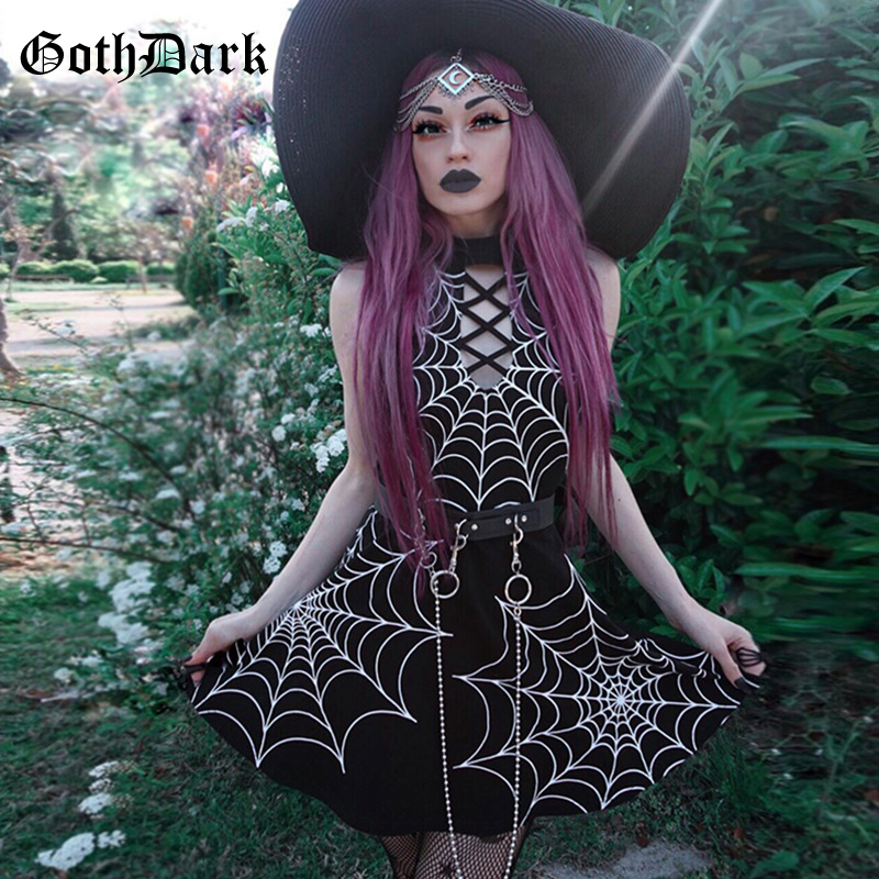 Goth Dark Aesthetic Grunge Gothic Print Dress Punk Patchwork Hollow Out Sexy Fashion Crisscross Bandage Halter Dresses Backless