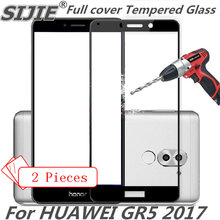 2pcs Full cover Tempered Glass For HUAWEI GR5 2017 GR 5 screen protective smartphone 9H toughened black White gold display thin