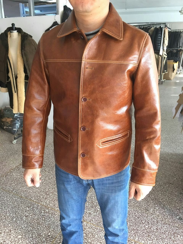Free shipping Brand men s 100 genuine leather Jackets classic oil wax cow leather jacket japan Innrech Market.com