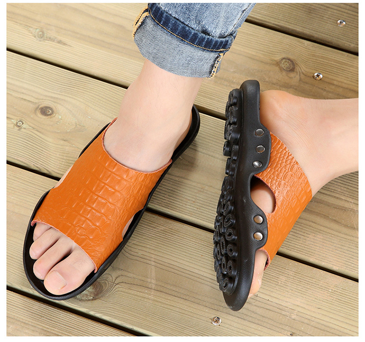 2018 New Men Genuine Leather Holiday Beach Shoes Flip Flops Men`s Casual Flat Shoes Sandals Summer Slippers For Men (7)