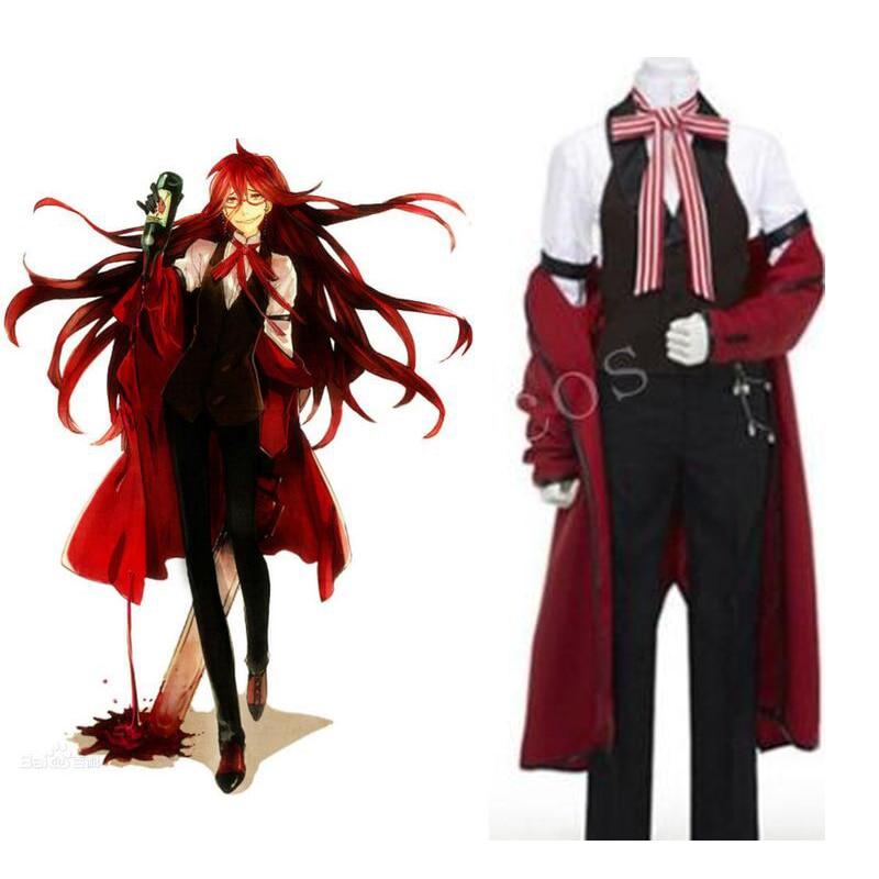 2016 Kuroshitsuji Black Butler Shinigami Grell Sutcliff Cosplay Costume High Quality Custom Uniform