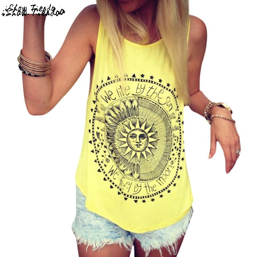 Harajuku   Tops   Stylish Sun Letter Circle Printed   Tank     Top   Women Casual Cotton Fitness   Top   Regata Feminina #2627