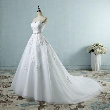 ZJ9032 lace flower Sweetheart White Ivory Fashion Sexy 2019 Wedding Dresses for brides plus size maxi size 2-26W 4