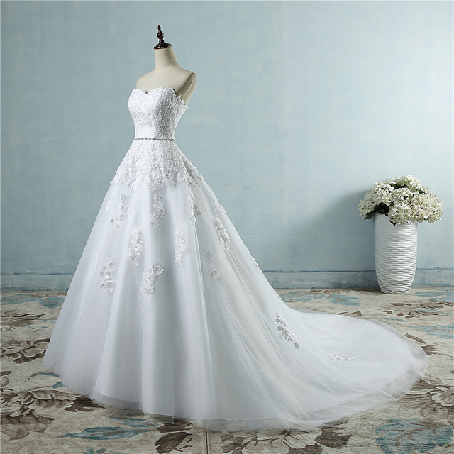 ZJ9032 lace flower Sweetheart White Ivory Fashion Sexy Wedding Dresses for brides plus size maxi size 2-26W