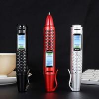 Mini Pen Cellphone 0.96 Tiny Screen Flashlight Bluetooth Dialer Dual SIM Camera Mobile Phones with Recording russian language