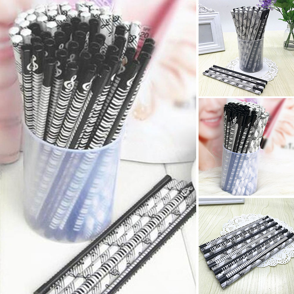 5 Pcs Fashion Creative Design Music Theme Wood Pencil Musical Notes And Piano Printed For Children Gifts Stationery