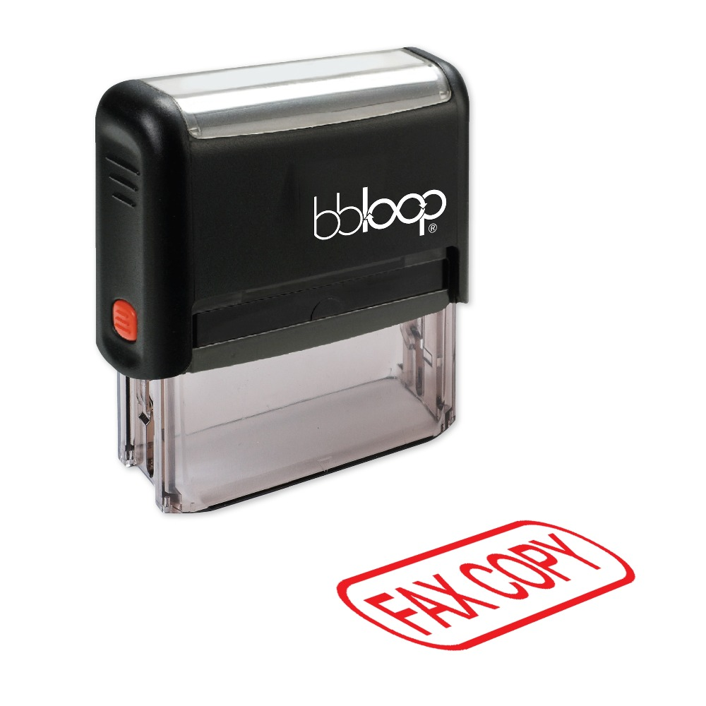 BBloop FAX COPY W/Round Border Self-Inking Stamp, Rectangular, Laser Engraved, RED/BLUE/BLACK 10 digit 9 wheels gray light blue rubber band self inking numbering stamp