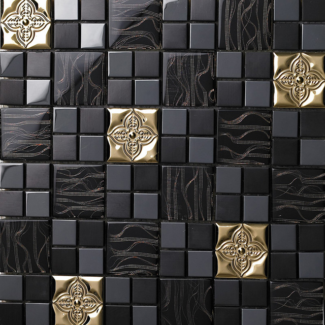 Tst glass kitchen wall metal tile black backsplash design gorgeous ...