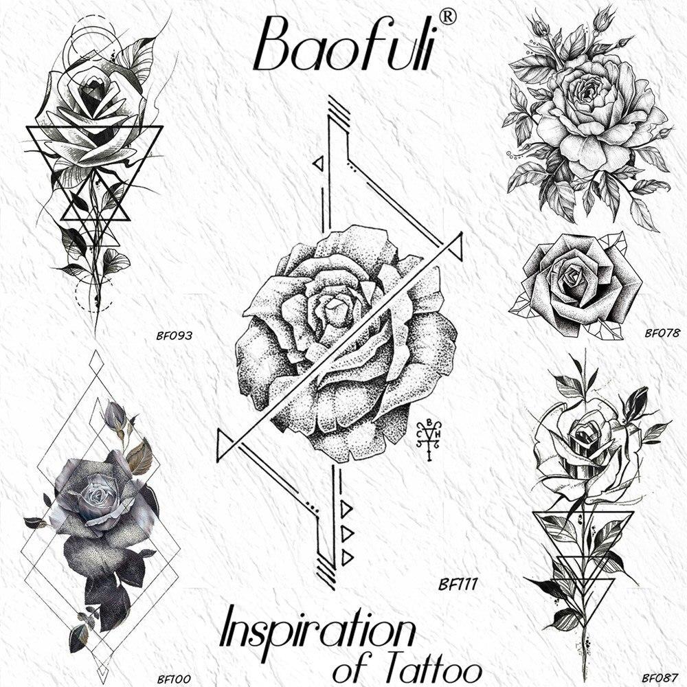 Us 043 10 Offbaofuli Geometric Arrow Rose Flower Temporary Tattoo Sticker Art Arm Triangle Line Fake Tattoos String Waterproof Tatoo Paper In