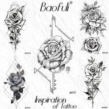 ebd3f35c39ec9 BAOFULI Geometric Arrow Rose Flower Temporary Tattoo Sticker Art Arm  Triangle Line Fake Tattoos String Waterproof