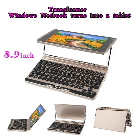 New 2012 Mini 8.9 inch notebook computer Windows Transfomer converts into a tablet PC,1.6 GHz Intel Atom N450,2GB RAM,120GB ROM
