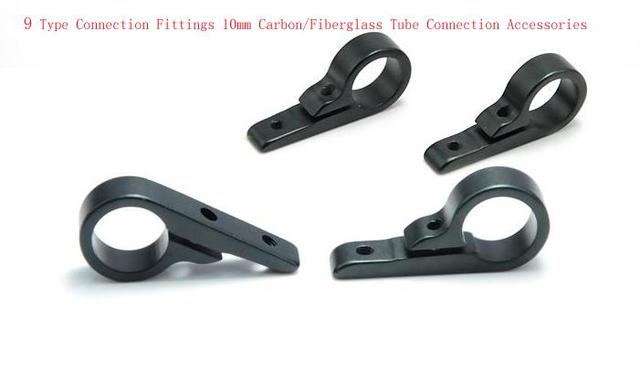 4 Pcs 9 Type Connection Fittings 10mm Carbon/Fiberglass Tube Connection Accessories for Multi/Quadcopter Landing Gear