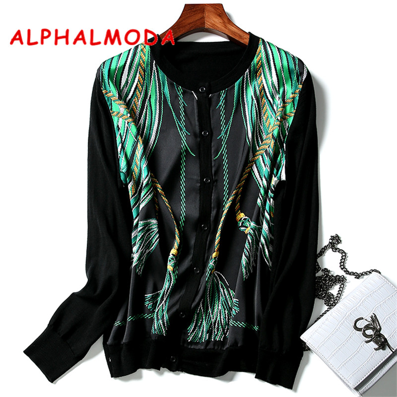 ALPHALMODA New Fall Printed Cardigans 3D Print Fashion Pattern Chiffon Patchwork Knitted Cardigan Formal OL Fall Clothes Top