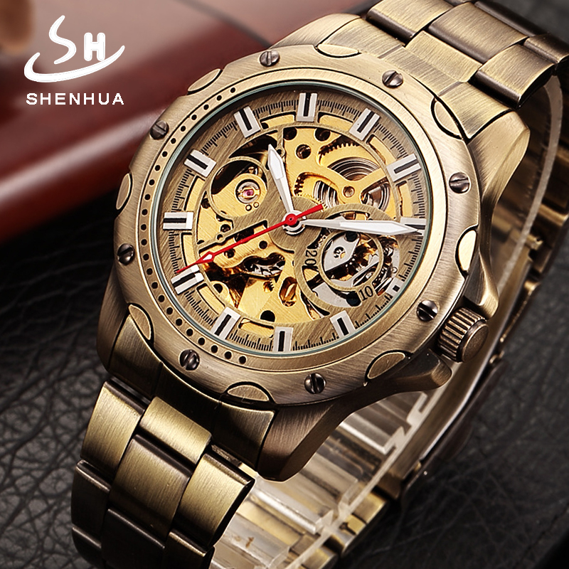 SHENHUA Power Automatic Skeleton Mechanical Watch Men Retro Bronze Metal Clock Vintage Watches Relogio Masculino Wristwatches allen roth brinkley handsome oil rubbed bronze metal toothbrush holder