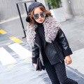 2016 de inverno meninas novas meninas de Couro Zip lapela casaco de cashmere espessamento quente frete grátis
