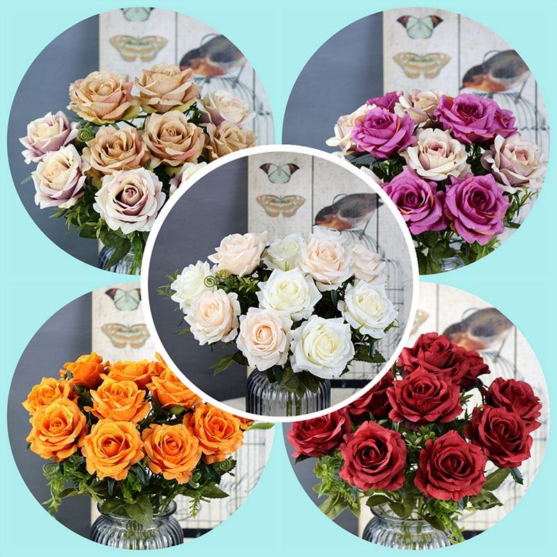 6 голов, белые розы, искусственные цветы, шелк, высокое качество, для свадебного украшения, зимние искусственные большие цветы, красные для домашнего декора, осень