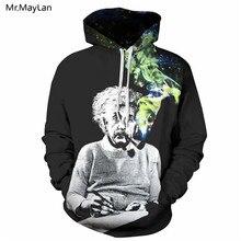 все цены на Einstein Smoking Print 3D Hoodies Men Women Sweatshirts Thin Unisex Hooded Tracksuits Pullovers Tops Spring Autumn Black Hoody
