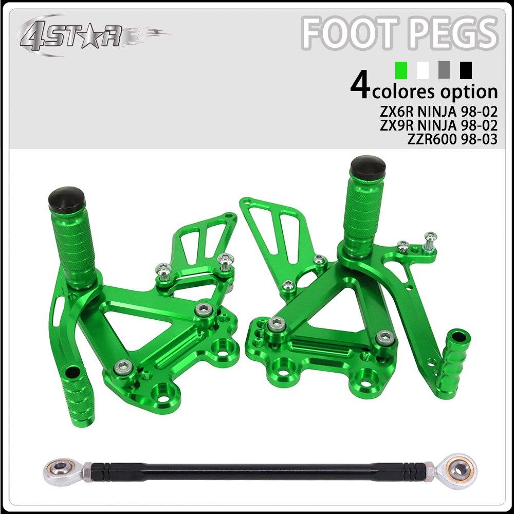 Motorbike CNC Aluminum Adjustable Footpegs Foot Pegs Footrest Pedals Rests For KAWASAKI Ninja ZX6R 99-02 ZX9R 99-03 ZZR600 05-08