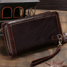 Brand Men Genuine Leather Clutches Designer Male Long Wallets Luxury Coffee Money Clips Purse High Quality Cowhide Made 8023