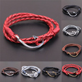 Handmade Men's Vintage Retro Faith Hope Fish Hook Leather Men Friendship Unique Fishhook Bracelet for Women Pulsera Ancla Hombre