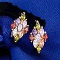 2 Colores Mujer De Lujo Circón Pendientes Del Aro de Oro Cristalino de la CZ Del Aro de la Flor Pendientes Para Las Mujeres Joyería Al Por Mayor
