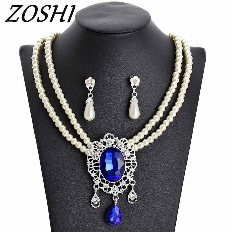 ZOSHI 2019 Imitation pearls Bridal Jewelry sets for Women Silver Color Rhinestone Necklace earring Sets Wedding Bridal Jewelry