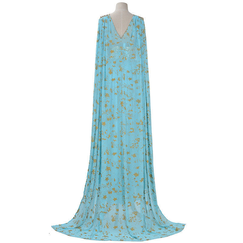 Mother of Dragons Game of Thrones Daenerys Targaryen Costume Long Dress Skyblue