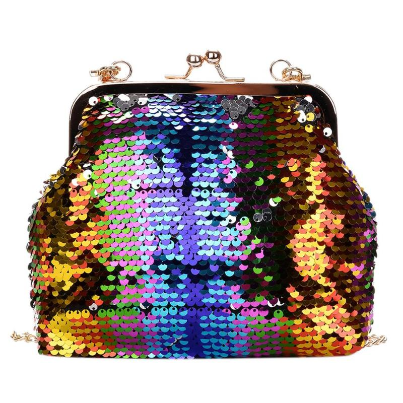 Details about 2018 Women Glitter Shining Sequins Messenger Bag Girl Evening  Party Sling Chain 7f3e08f60f3b