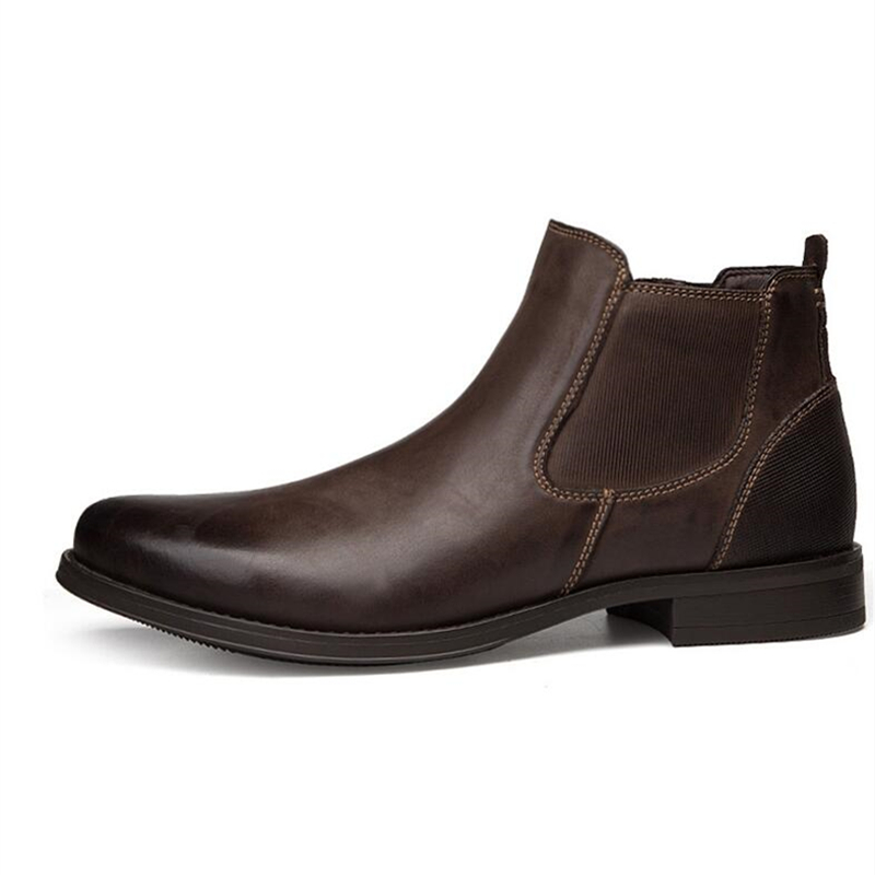 Mens Pointed Toe Chelsea Boots Real Leather Man Slip On Ankle Boots Business Man Oxfords Autumn Winter Casual Shoes in Chelsea Boots from Shoes