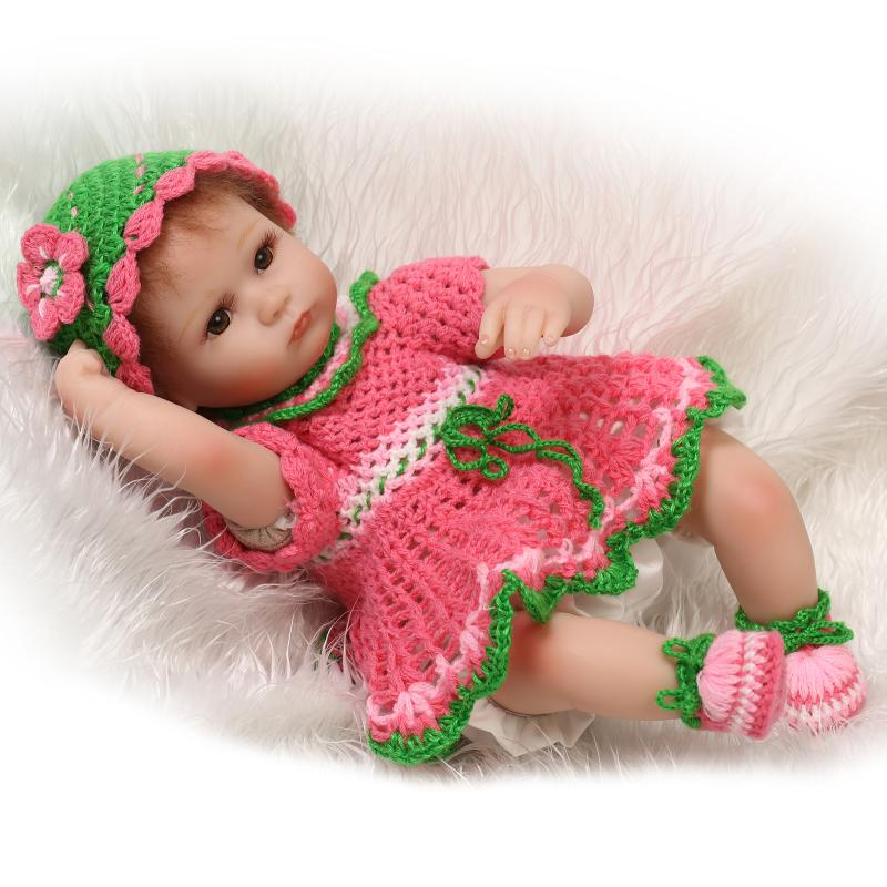 Handmade Reborn Baby Doll 18 Inch 40 cm Soft Silicone Baby Girl Newborn Dolls in Woven Dress for Kids Girls Birthhday Xmas Gifts handmade 18 inch girl doll plastic toy dolls for girls toy gifts 45cm princess dolls bjd doll with red dress and shoes