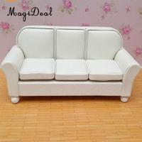 1/12 Dollhouse Furniture Leather Sofa Couch Chair Miniature Model Sitting Room Accessories Furniture Decoration White