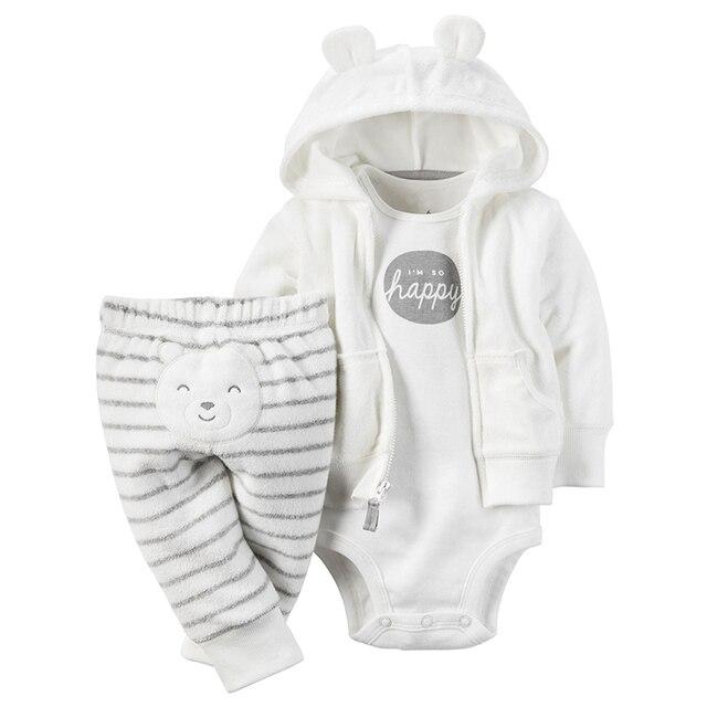 Meninas Roupas de bebê 3 peças set Conjunto Casaco de Algodão 6-24 meses e45c91fbd4f