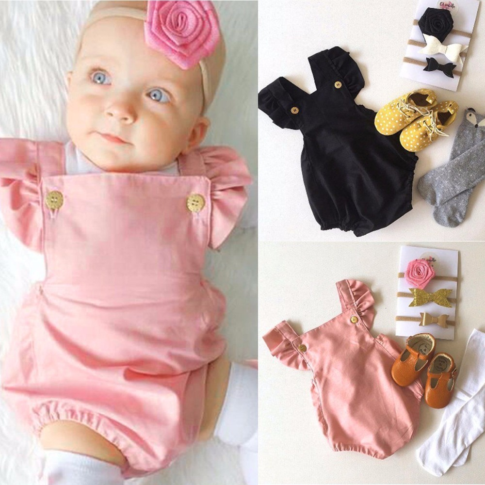 2017 Cute Newborn Baby Girl Romper Clothes Summer Ruffled Sleeve Solid Bebes Rompers Toddler Kids Jumpsuit Outfits Sunsuit 0-24M