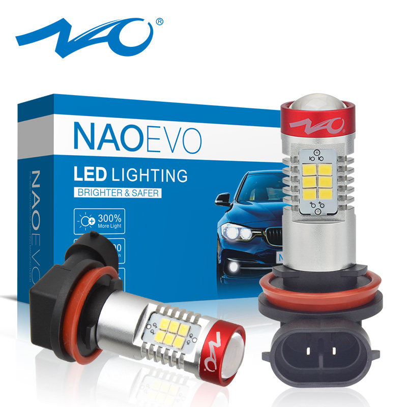 NAO H11 LED Bulb Fog Lights 12V H8 HB4 HB3 White 1400Lm 9005 9006 Car H9 Lamp 21pcs 2835 Chips Auto DRL Daytime Running Lights