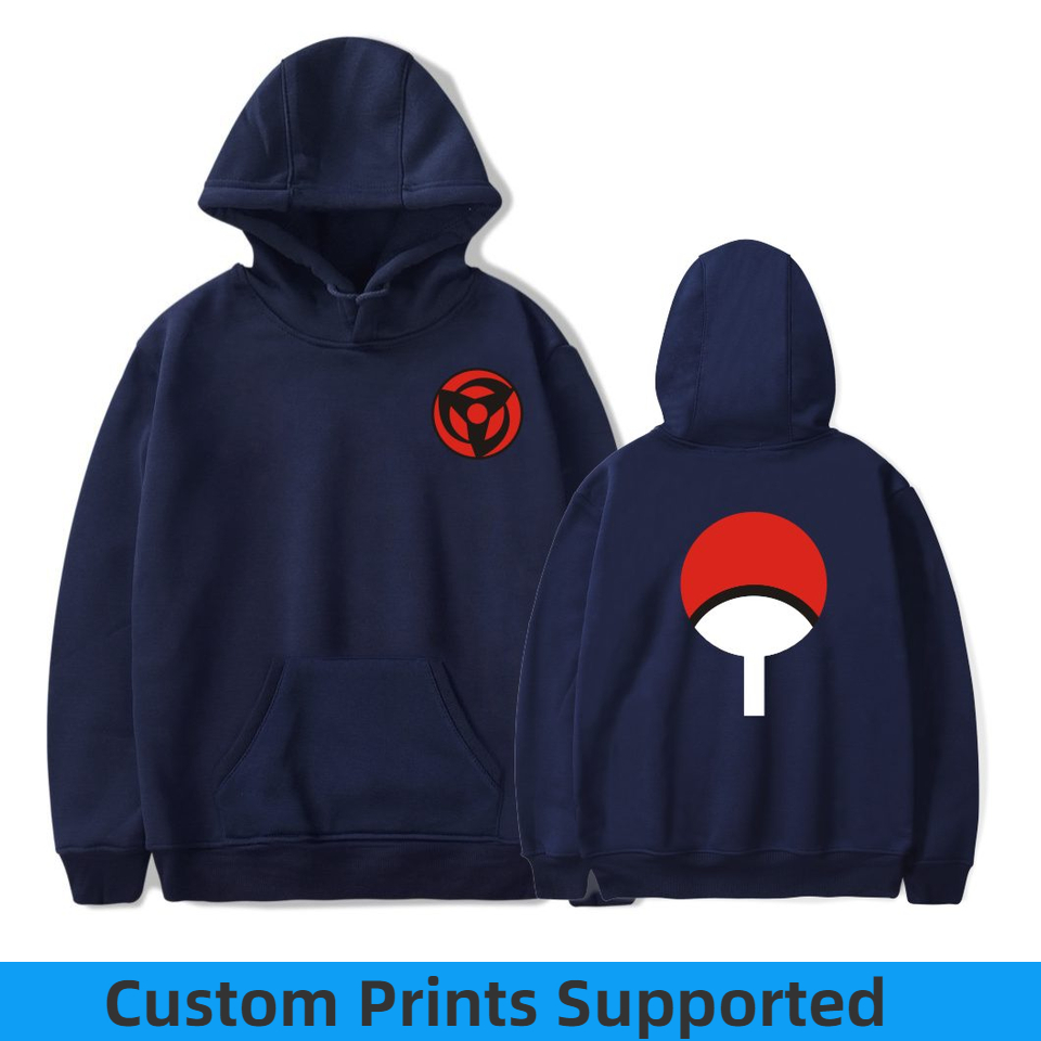 Naruto Hoodies Sweatshirts Uchiha Syaringan Hooded Boys Fashion Hokage Ninjia Men/women Classic Cartoon printed Clothes Custom