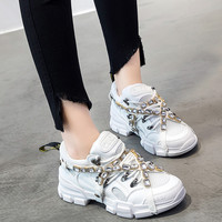 2019 Spring/Autumn Chunky Sneakers Women Mesh Crystal Chain Platform Sneaker High Quality Famous Brand Fashion Casual Dad Shoes