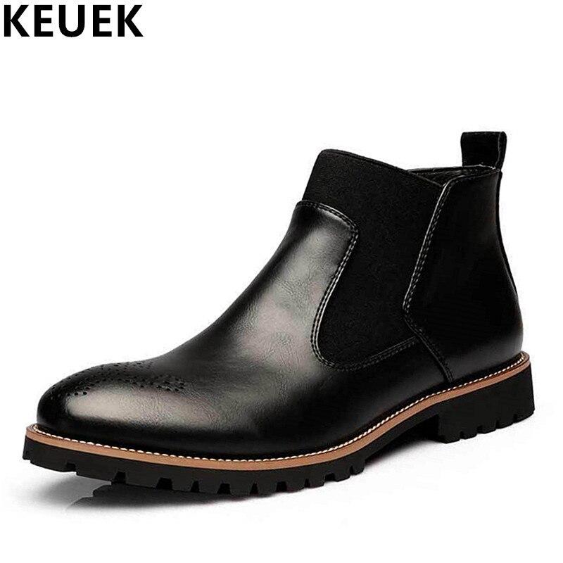 Tamanho grande Outono Inverno Homens botas Slip-On Dedo Apontado Botas Chelsea Ankle Boots de couro Genuíno Respirável sapatos Masculinos 3A