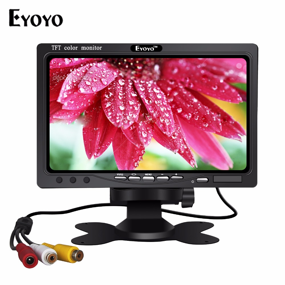 Eyoyo S720 Portable 7 inch LCD Display TFT Color Monitor with VGA AV HDMl Input for Camera PC DVD LCD CCTV Monitor escam t10 10 inch tft lcd remote color video monitor screen with vga hdmi av bnc usb for pc cctv home security system camera