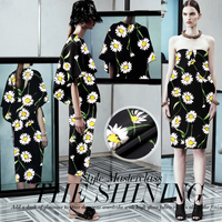 Jenny's Story 30 momme weight heavy silk crepe wide cloth silk clothing material [fresh daisies]